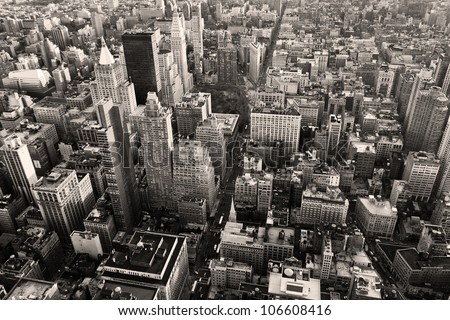Aerial view of New York city in a black and white shot. - stock photo