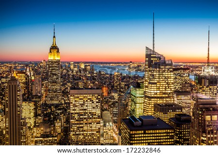 Aerial view of New York city in the USA - stock photo