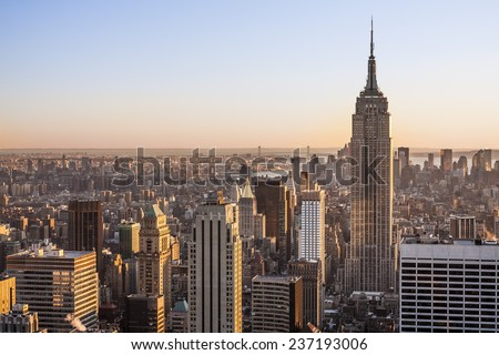 Aerial view of New York city in the USA. - stock photo