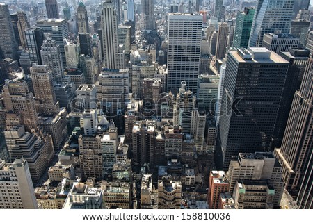 Aerial view of New York city in the USA showing the skyscrapers of Manhattan.