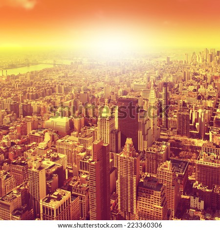 Aerial view of New York City Manhattan. - stock photo