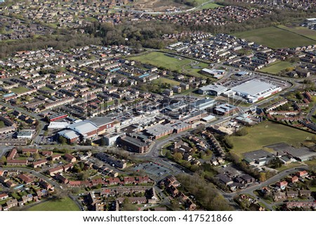 aerial view of Newton Aycliffe town in County Durham, UK