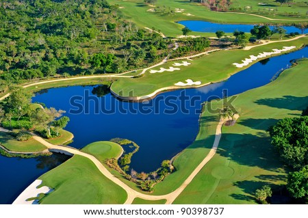 aerial view of nicely manicured florida golf course - stock photo