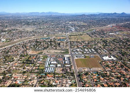 Aerial view of North Phoenix, Arizona along Thunderbird Road looking east - stock photo