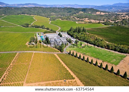 aerial view of northern california wine country and large winery