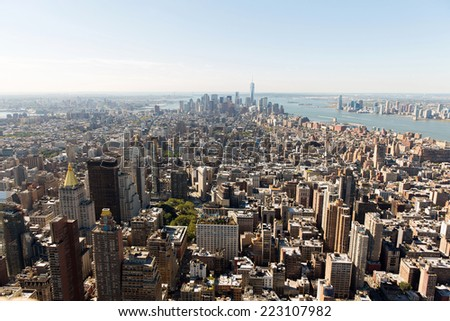 aerial view of NYC skyline with urban skyscrapers