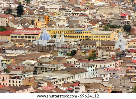 Aerial view of old colonial part of Quito, Ecuador - stock photo