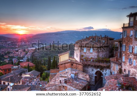 Aerial view of old houses in Perugia at sunset, Umbria