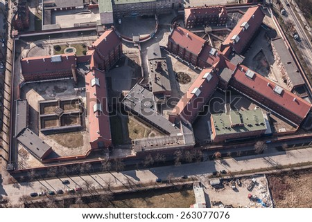 aerial view of  old Prison in Wroclaw in Poland