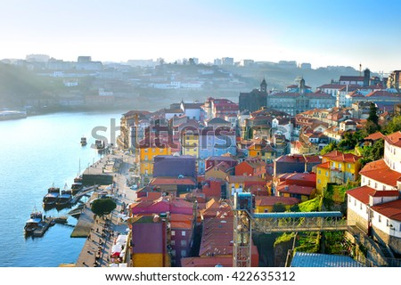 Aerial view of Old Town of Porto in sunset light. Portugal - stock photo