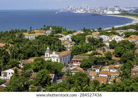 Aerial view of Olinda and Recife in Pernambuco, Brazil. - stock photo