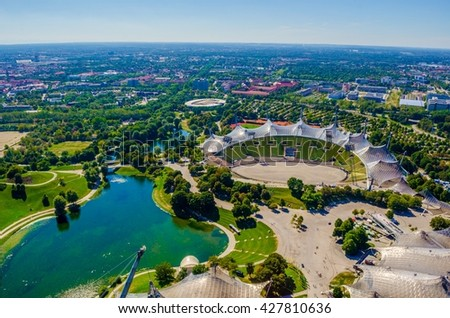 Aerial view of olympiapark in german city munich which hosted olympic games at 1972.