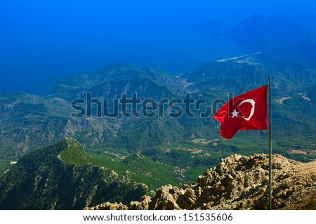Aerial view of Olympos ( Kumluca district of Antalya Province, Turkey ) and mountain range of Central Taurus from top of Tahtali  - stock photo