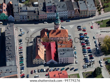 aerial view of Otmuchow town hall