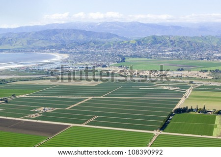 Aerial view of Oxnard farm fields in spring  Ventura County, California