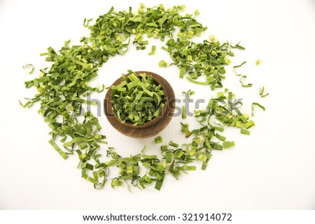 Aerial view of pandan leaf or screw pine. The long green fresh leaf is finely shredded to make herbal tea of sweet fragrance.  Has medicinal benefit in combat heat, treat fever, headache and cough.  - stock photo