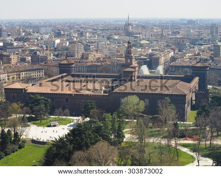 Aerial view of Parco Sempione park in the city of Milan in Italy - stock photo