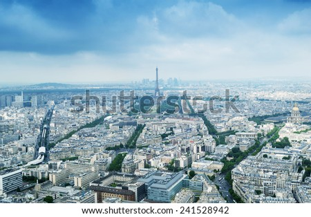 Aerial view of Paris and Eiffel Tower.