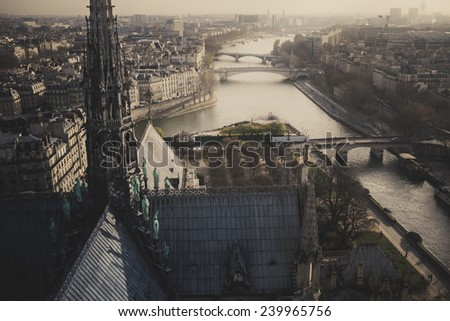 Aerial view of Paris and the river Seine - stock photo
