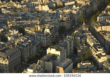 Aerial view of Paris architecture from the Montparnasse Tower - stock photo