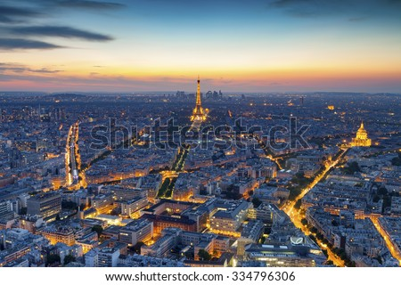 Aerial view of Paris at night - stock photo