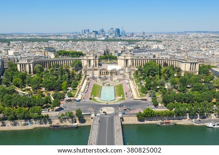 Aerial view of Paris, France as seen from Eiffel Tower - stock photo