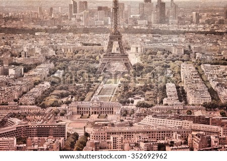 Aerial view of Paris, France - vintage textured style. - stock photo