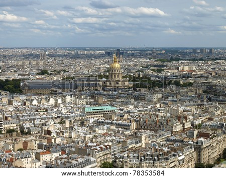 Aerial view of Paris from Eiffel tower - stock photo