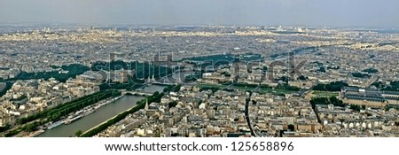 Aerial view of Paris from the Eiffel tower. France. - stock photo