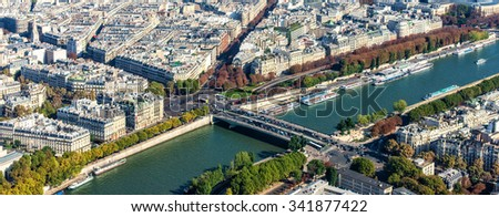 Aerial view of Paris from the Eiffel Tower, Paris, France - stock photo
