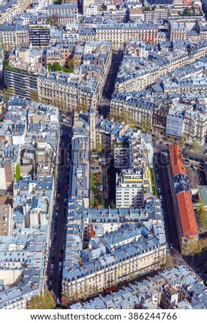 Aerial View of Paris Streets  from Eiffel Tower, France