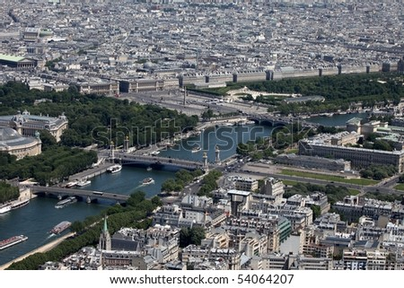 Aerial view of Paris; the Alexandre III bridge can be seen in the center - stock photo