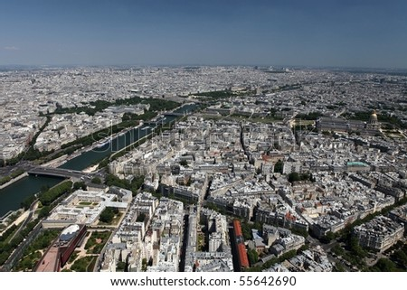Aerial view of Paris; the Dome des Invalides can be seen in the right