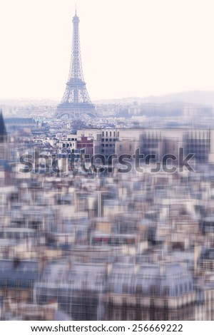 Aerial View of Paris with Eiffel Tower
