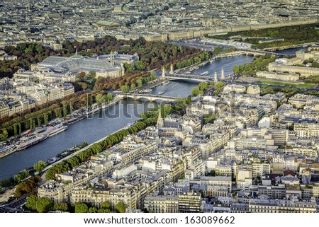 Aerial view of Paris with Seine River and Grand Palace, France