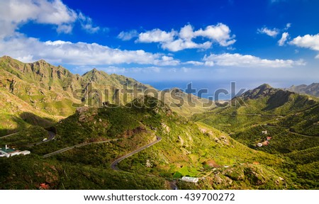 aerial view of Park Rural Anaga with its mountains and Forest, Tenerife, Canary Islands, Spain - stock photo