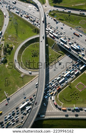 Aerial view of part of highway interchange in Moscow city, Russia