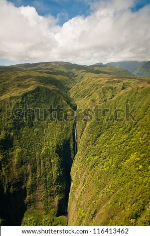 Aerial view of part of Kahiwa falls at Molokai island.