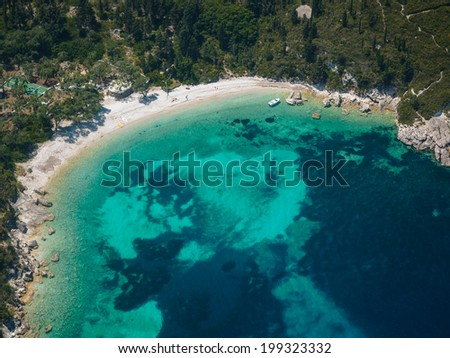 Aerial view of Paxos island Greece - stock photo