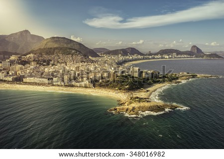 Aerial view of peninsula on the beach in Rio de Janeiro, Brazil