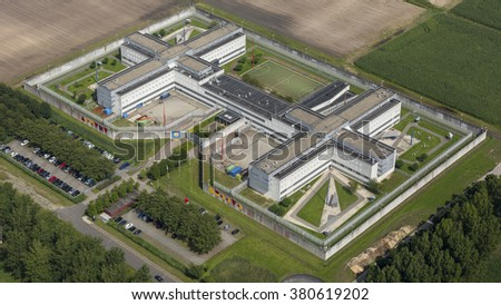 Aerial view of penitentiary prison in Almere, Holland. - stock photo
