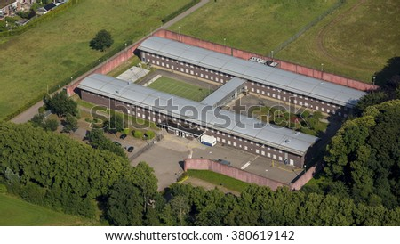 Aerial view of penitentiary prison in Doetinchem, Netherlands. - stock photo