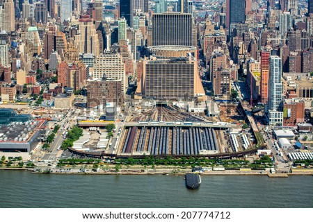 Aerial view of Penn Station and Hudson river in Manhattan. - stock photo