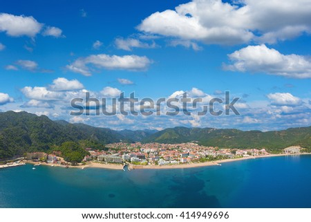 Aerial view of popular Turkish holiday resort Icmeler, Turkey - stock photo