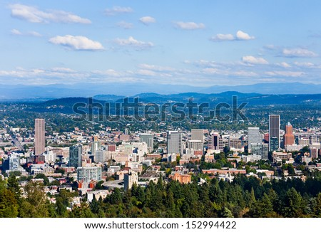 Aerial view of Portland, Oregon - stock photo
