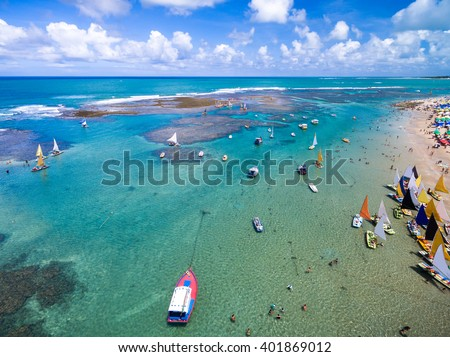 Aerial View of Porto de Galinhas, Pernambuco, Brazil - stock photo