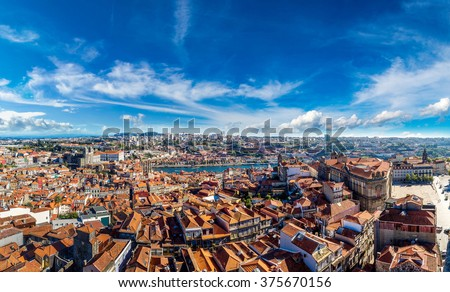 Aerial view of Porto in Portugal in a beautiful summer day - stock photo
