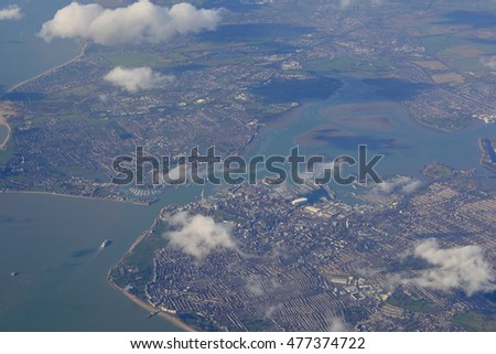 Aerial view of Portsmouth harbour in Hampshire, England