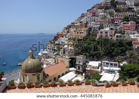 Aerial view of Positano, Italy, a popular tourist destination on the Amalfi Coast. - stock photo