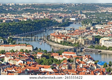 Aerial view of Prague, Czech Republic from Petrin Hill Observation Tower. - stock photo